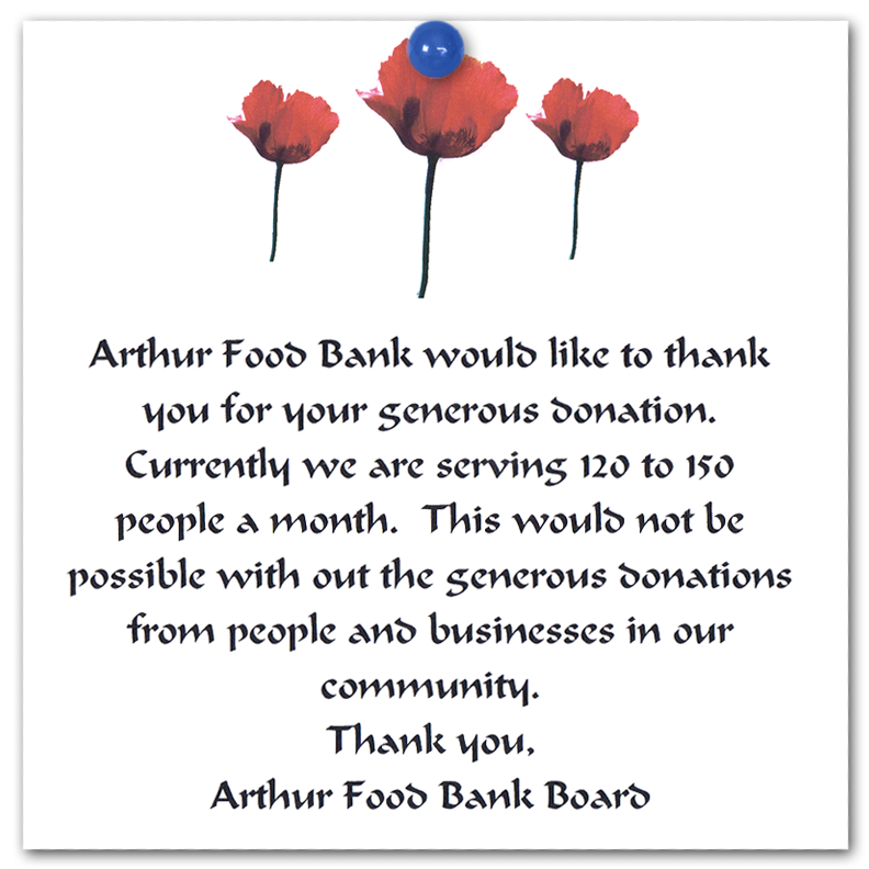 Letters of thanks 2009 power of hope community organization thank you letter from arthur food bank spiritdancerdesigns Images