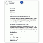 Thank You letter from Children's Foundation of Guelph and Wellington