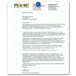Thank you letter from Mosaic Counselling and Family Services