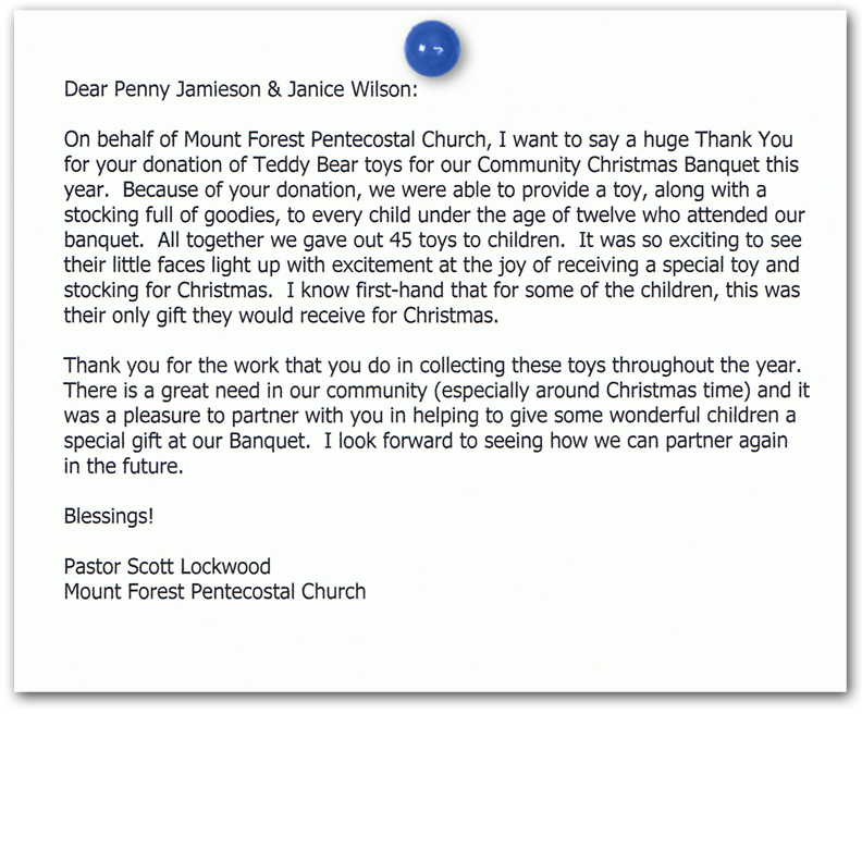thank you letter from mount forest pentecostal church