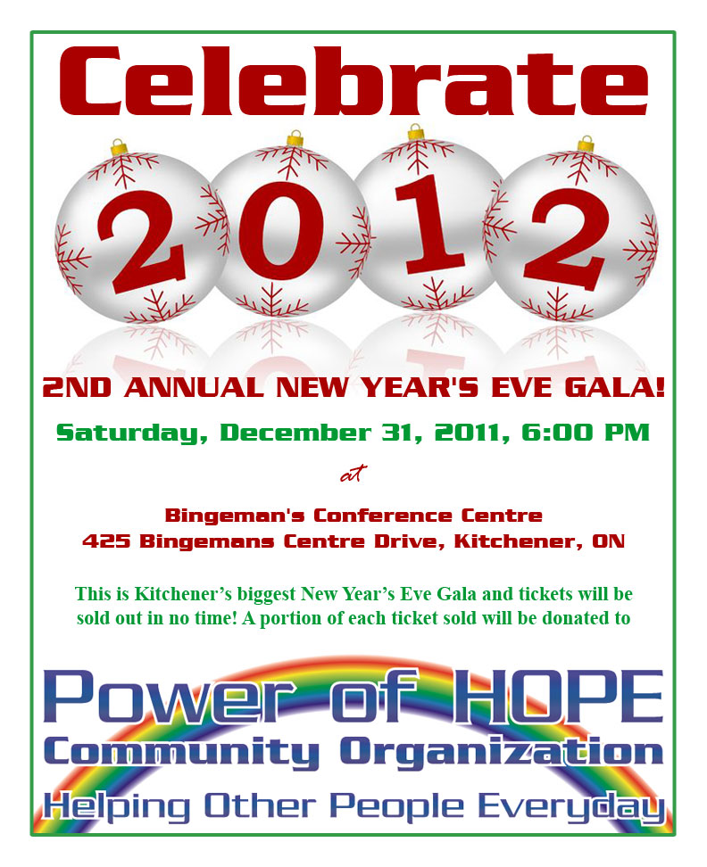Celebrate 2012: 2nd Annual New Year's Gala Saturday, December 31st at Bingeman's, Kitchener, Ontario