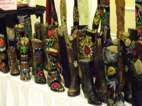 A wide range of boots are displayed at Debra Bell's DLB Accessories