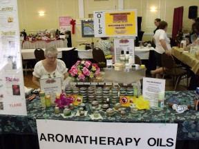 Elaine Elias of Nature's Nurtures displays her aromatherapy oils