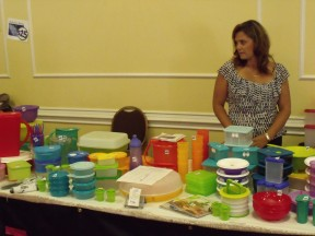 Deanna Descary displays her wide range of Tupperware containers