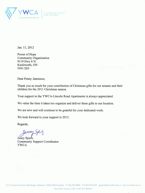 Letters of thanks 2011 power of hope community organization thank you letter from the kitchener ywca thecheapjerseys