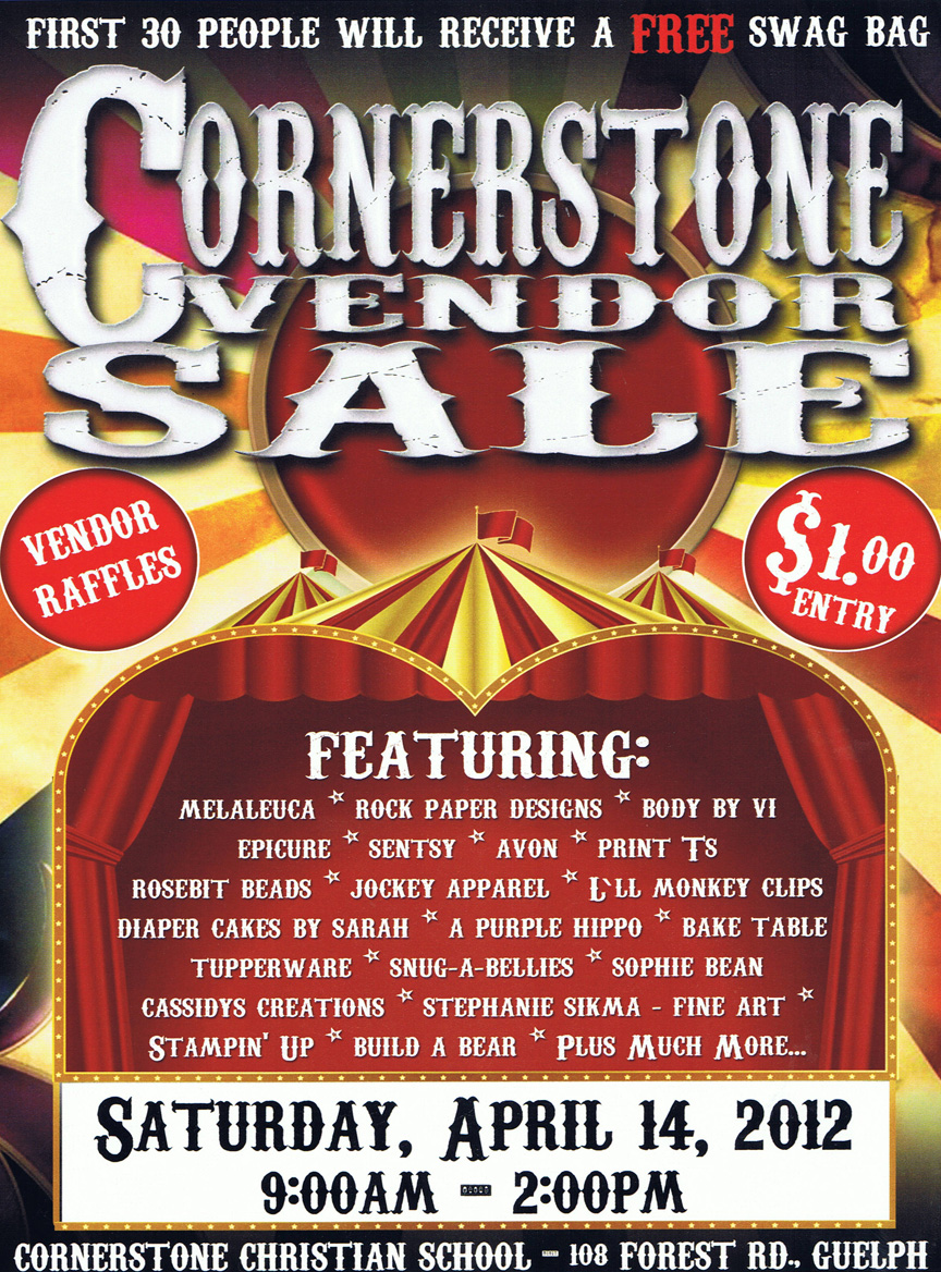 Cornerstone Vendor Sale - Saturday April 14, 2012