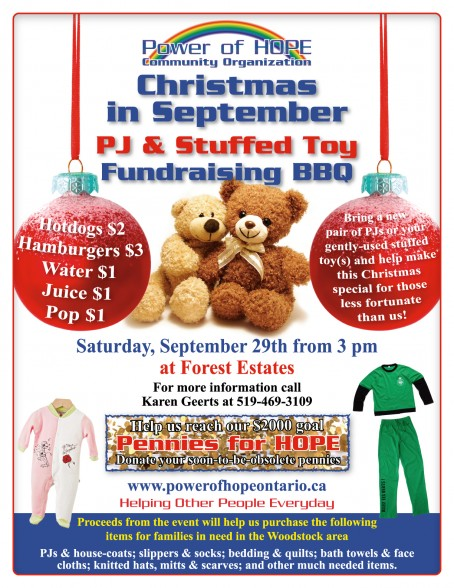 Christmas in September Fundraising BBQ for Power of HOPE, Saturday 29th September from 3 pm at Forest Estates, Woodstock