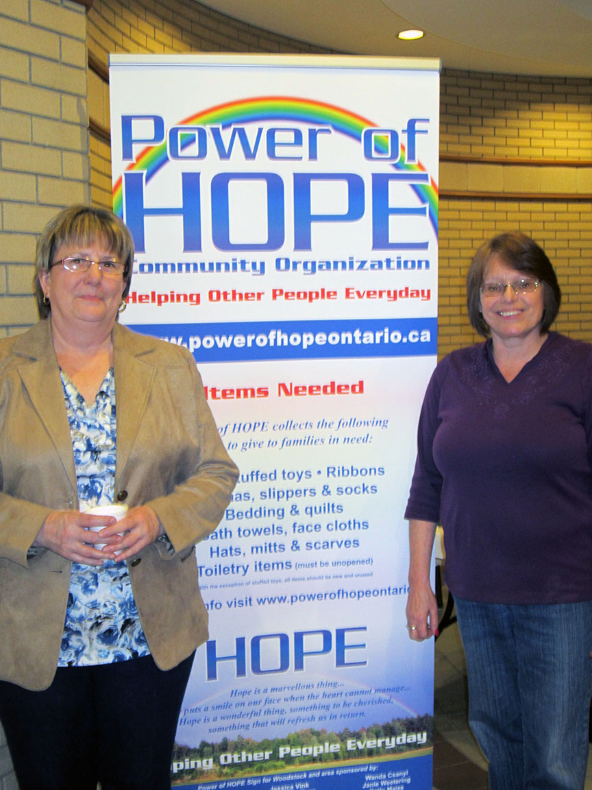 Karen Geerts, Woodstock Director with Penny Jamieson, Power of HOPE Executive Director at the Spring into HOPE Craft and Vendor Show