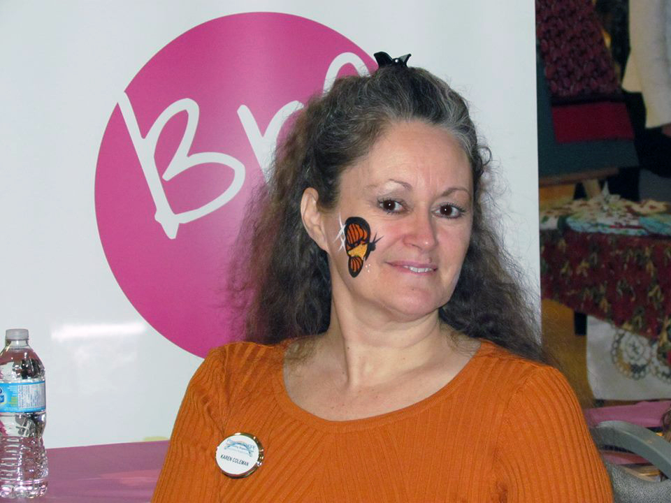 Karen Coleman, Director, had her face painted with an orange butterfly.
