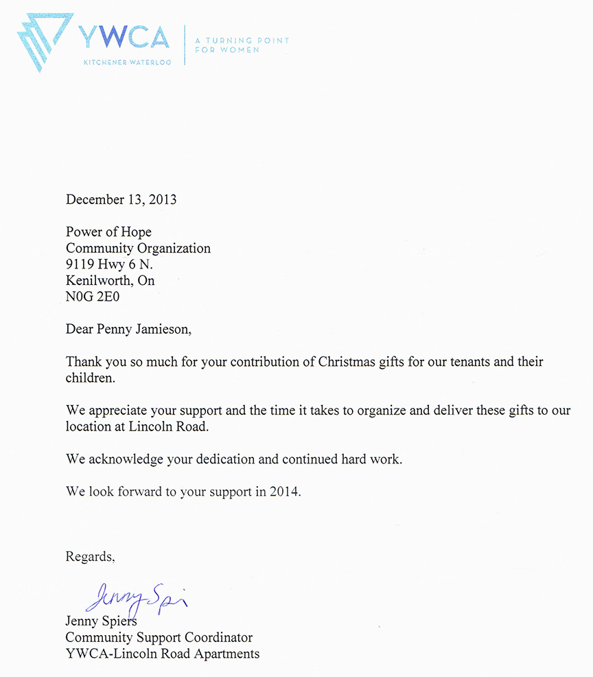 Thank you letter from the YMCA, Lincoln Road, Kitchener