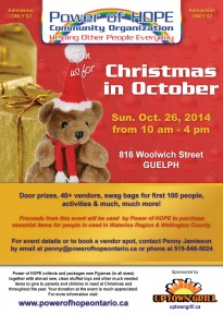 Power of HOPE Christmas in October 2014 Guelph - October 26, 10 am to 4 pm